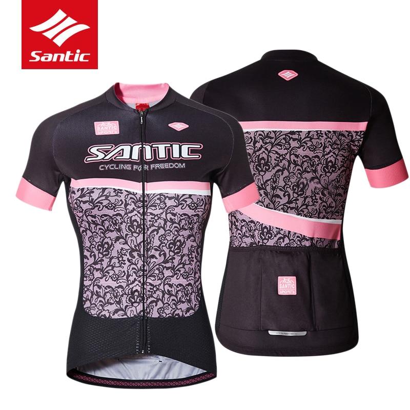 ФОТО 2017 Santic Women Cycling Jerseys  Short Sleeve Riding Downhill Jersey Bike Cycling Summer MTB Road Bicycle Clothing Clothes