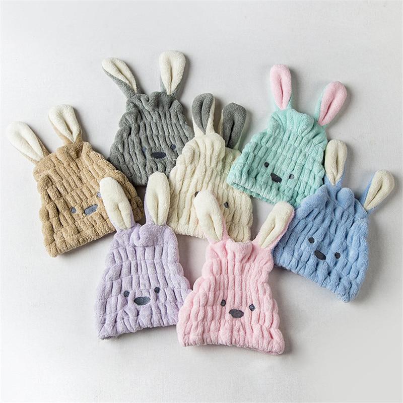 Cute Long Ear Rabbit Dry Hair Cap Shower Cap Bath Towel Strong Absorbing Drying Velvet Ultra-Soft Special Hair Dry Hat Towels