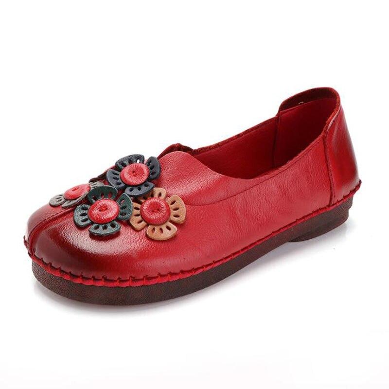 017 Retro Schuhe Für Frau Handgemachte Schuhe Aus Echtem Leder Wohnungen Mit Schmetterling-knoten Frühling Dame Sandalen Blumen Mutter Schuhe Angemessener Preis