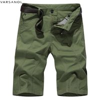 Varsonal Summer New Casual Shorts Men Cotton Sim Fit Solid Knee Length High Quality Short Trousers Green Khaki 5colors (no belt)