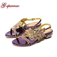 Comfortable Summer Flat Heel Sandals Purple Rhinestone Wedding Party Shoes Fashion Women Dress Shoes Bridesmaid Shoes Size 11