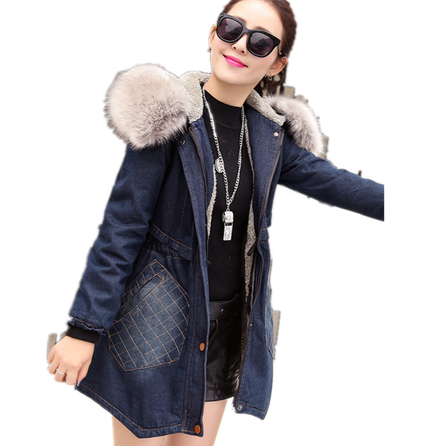 New Women's Casual Long Slim Thick Winter Faux Fur Collar Lining Blue Warm Denim Cotton Jacket Coat Parkas For Women,Size S-XXL 2017 new winter women winter women in the long section of thick cotton coat fur collar jacket cold winter jacket size m xxl