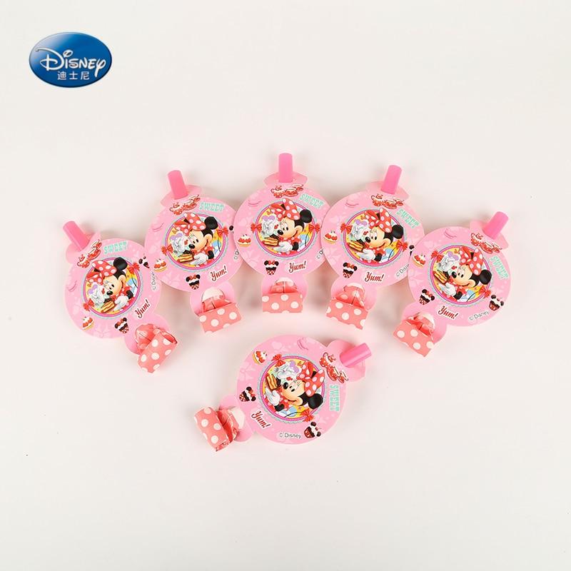 6pcs/lot Disney Minnie Mouse Cartoon Blowouts Baby Party Blowouts Noise Maker Party Supplies Wedding Decoration