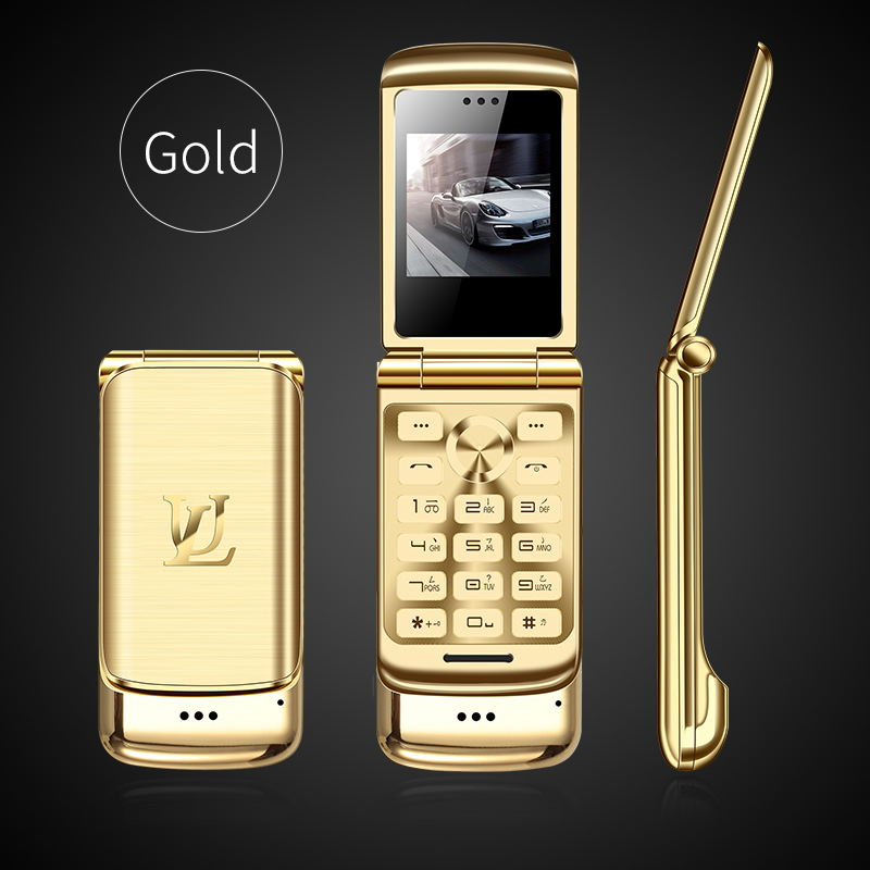 V9 Металлический Мини Мужской Бизнес Флип Мобильный двойной карты маленький телефон Личность Ультра-Тонкий Карманный запас - Цвет: gold