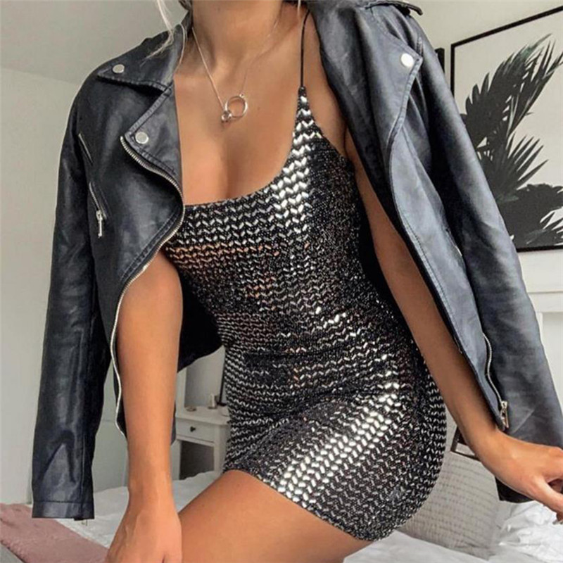 Toplook Sequin Women Dress Sexy High Waist 2019 Women Fashion Club Party Reflective Bodycon Mini Dress