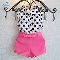2015 conjuntos de roupas meninas roupas de bebê menina casaco de bolinhas + calça rosa roupa do bebê roupa dos miúdos Crianças terno das senhoras frete grátis