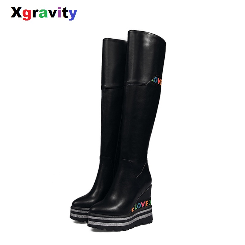 Xgravity Autumn Winter Lady Fashion Over the Knee Boots Elegant Womens Casual Wedge Shoes Fashion Long Boots Platform Shoe S036Xgravity Autumn Winter Lady Fashion Over the Knee Boots Elegant Womens Casual Wedge Shoes Fashion Long Boots Platform Shoe S036