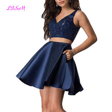 V-Neck Sequins Homecoming Dresses Two Pieces Short Prom Party Gown with Pocket Above Knee Mini Formal graduation dresses