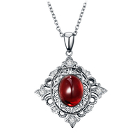 Necklaces Women 18K Rhodium Plating Chain Round 925 Sterling Silver Necklace Red Natural Garnet Women 2016