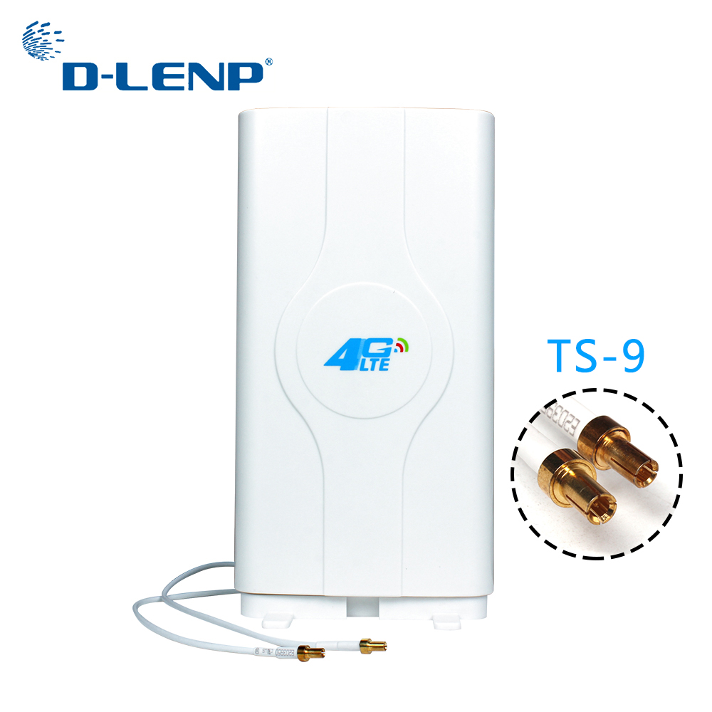 Dlenp 88dBi 4G LTE MIMO Antenna Booster Panel Antenna 700-2600Mhz With 2-TS9 Male Connector With 2 Meters Cable