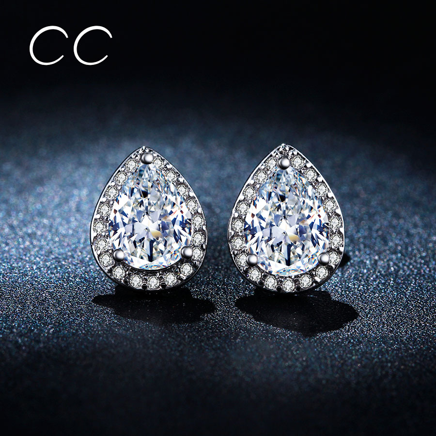 Shine Water Drop Simulated Diamond Earring Brincos White Gold Plated Stud  Earrings For Women Best Gift