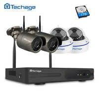 Techage 4CH 1080 p ワイヤレス Nvr Wifi CCTV システム 1MP 2MP ドーム屋内屋外 IP カメラ P2P ビデオセキュリティ監視キット 2 テラバイト