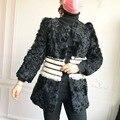 O-pescoço Casaco De Pele de Cordeiro Real para As Mulheres Casacos de Inverno Primavera de roupas de BAIXO PREÇO 5 cores S M L