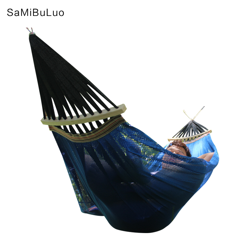 SAMIBULUO Rope Swing Hammock Summer Breathable Mesh Hammock with Tree Hanging Straps Rope for Camping Travel