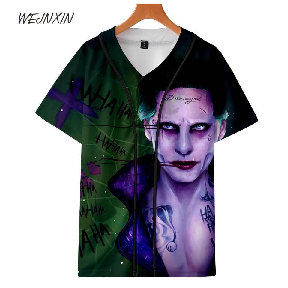 WEJNXIN v-образным вырезом Harley Quinn Deadpool 3D Футболка с принтом Джокер Отряд Самоубийц Для мужчин Для женщин футболка Однобортный Camiseta рубашки