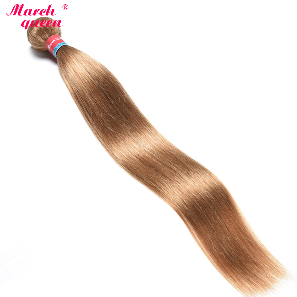 Sunny March Queen Peruvian Straight Hair Weave 1 Bundles #27 Honey Blonde Color Human Hair Weaving Non-remy Hair Extensions For Improving Blood Circulation Human Hair Weaves