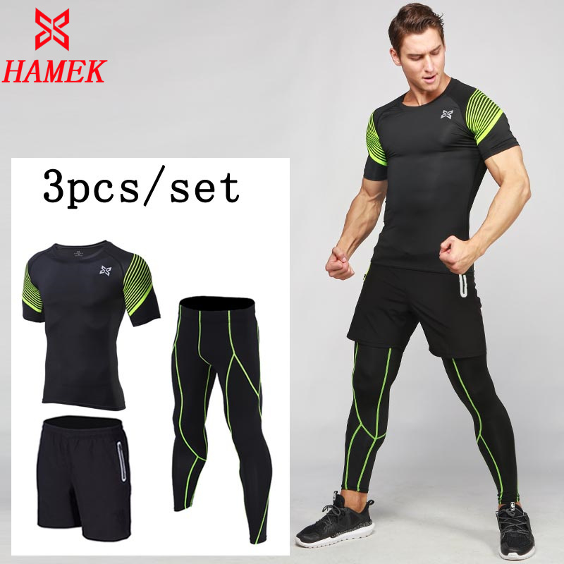 03d53858a2060 HAMEMen s Compression Running Suits Clothes Sports Set Jackets Shorts And Pants  Joggers Gym Fitness Compression Tights