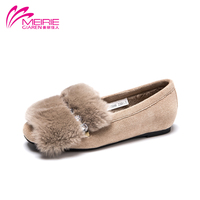 MeiRie S 2017 New Arrival Women Flats Female Casual Slip On Real Fur Shoes Short Plush