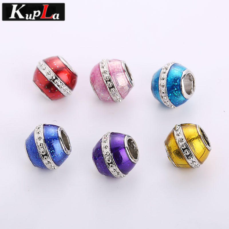 Kupla Metal Color Enamel European Round Beads for Pandora Charms DIY Zinc Alloy Accessories Big Hole Beads for Jewelry Making