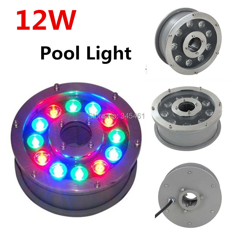 ФОТО New 12W High Strength Led Pond Light Outdoor RGB Underwater lights City Town Yard Project Decor 12v 24v Fountain Lights