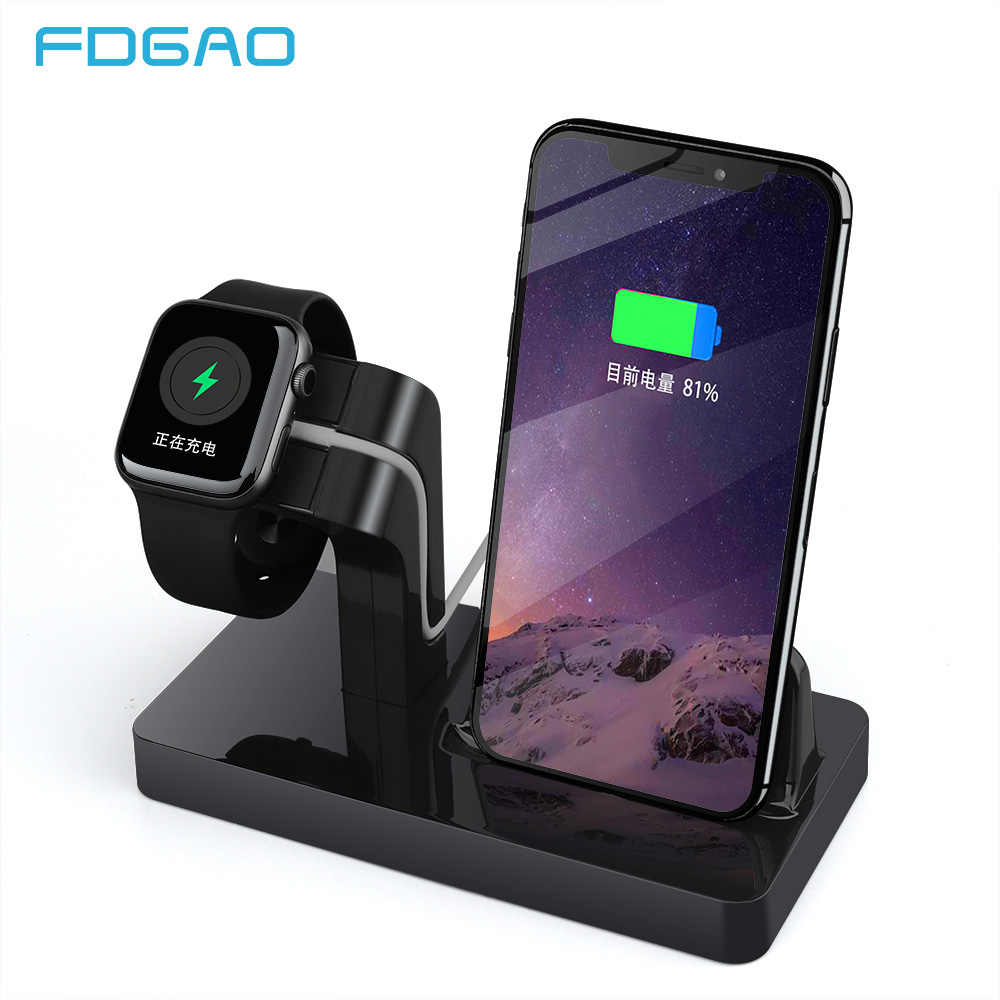 Fdgao 2 In 1 Pengisian Dock Station Cradle Stand Charger Pemegang untuk iPhone X XR X MAX 8 7 6 S 6 Plus SE 5 untuk Apple Watch 4 3 2 1