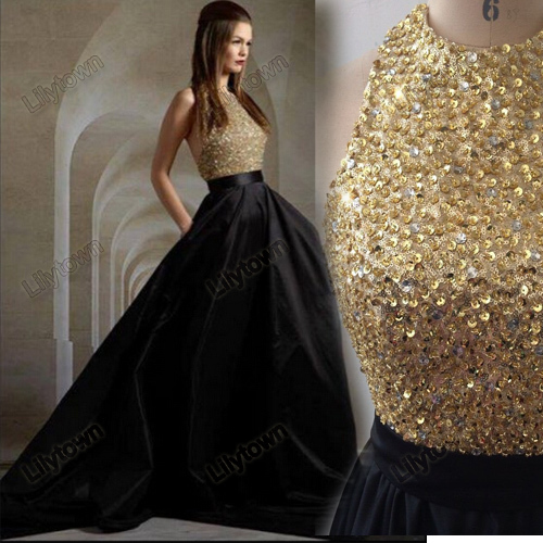 2015 Custom Made Vestidos A-Line Backless Open Back Sequin Beaded Crystal Satin Long Evening Dress Celebrity Design Real Photo - Lilytown's Wedding Store store
