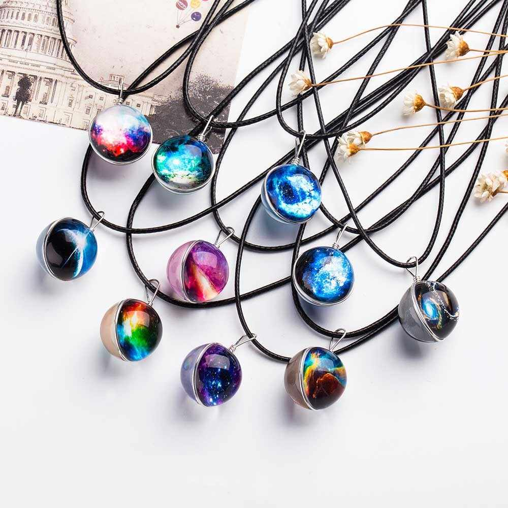 Nebula Space Universe Galaxy Necklace Stars Glass Ball Pendant Crystal Collares Planet Pattern Leather Chain Necklace For unisex