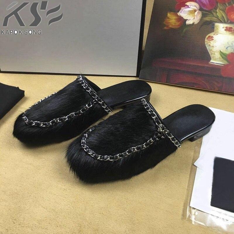 Дамские тапочки конский волос цепь модельер люксовый бренд c Модель genunie кожаные удобные босоножки женская обувь леди