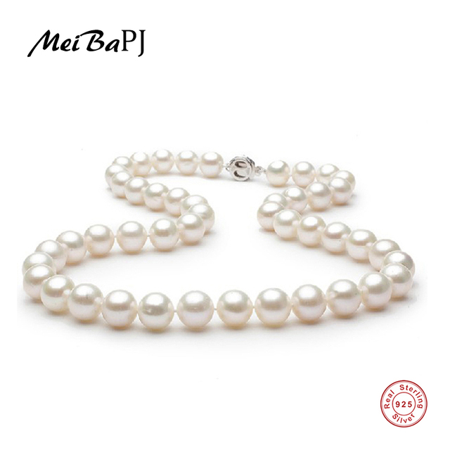 0cdfcedd4 [MeiBaPJ] 7-8mm Perfectly Round Freshwater Pearl Necklace High Quality With  925 Sterling Silver Flower Clasp