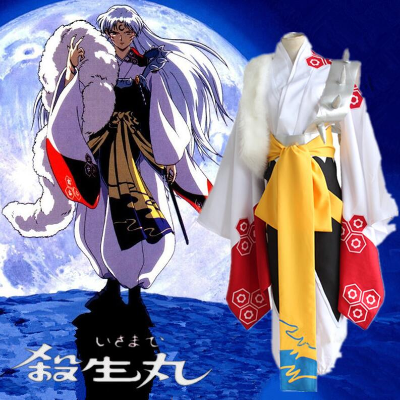 Anime Inuyasha Sesshoumaru Cosplay Costumes Full Set Kimono Uniform Halloween Costume
