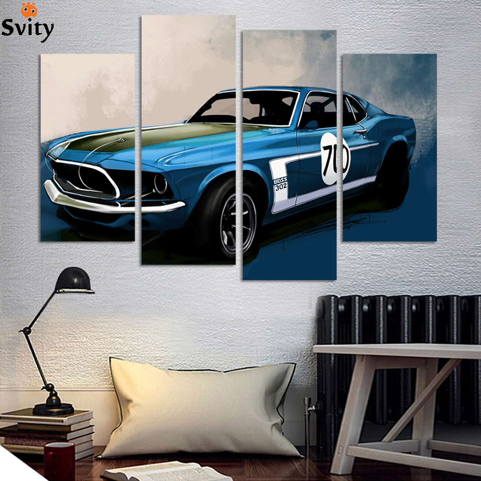 Buy 4 pcs blue sports car wall art for Automobile decorations home