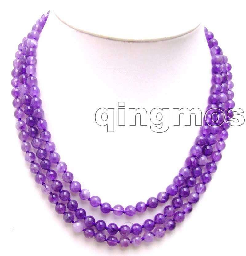 """6 мм круглый высококачественный Природный пурпурный кристалл 3 нити 18-2"""" necklace-nec5748"""
