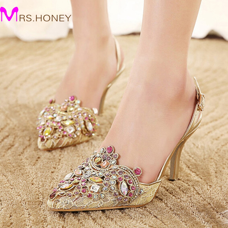 Gold Spring Summer Lace Pointed Toe Wedding Shoes Slingbacks Sandals Sexy Lady Single High Heels Women Party Prom Pumps 2016 women leg cross lace up single flat gold silver shoes lady pointed toe sole single shoes hot female stra shoes 35 39