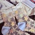 Llegada Colorida Ultrafina Transparente Cristalino Hermoso de Encaje Mujeres Cortos Elásticos Calcetines de la historieta Del Calcetín para la Muchacha