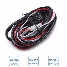 Автомобильный светильник проводной жгут ткацкий станок комплект внедорожный светодиодный рабочий светильник для вождения ремонтная лампа дополнительная проводка расширения 2 м 2,5 м 3 м кабельный контроллер