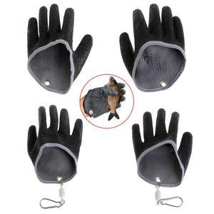 Image 1 - 1PC Non Slip Latex Vissen Handschoenen Met Magneet Release Visser Beschermen Hand Vis Grab Anti Skid Capture Veiligheid Hand handschoenen