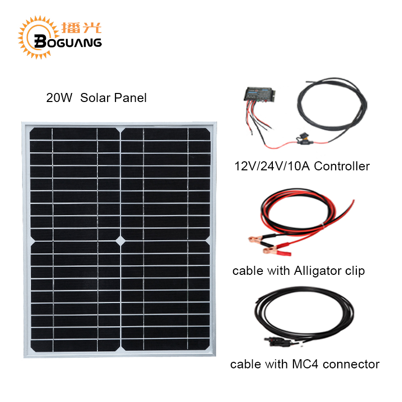 цена на BOGUANG 20W 18V monocrystalline solar panel module cell system 12V DIY kits for toys light led science toy experiment outdoor