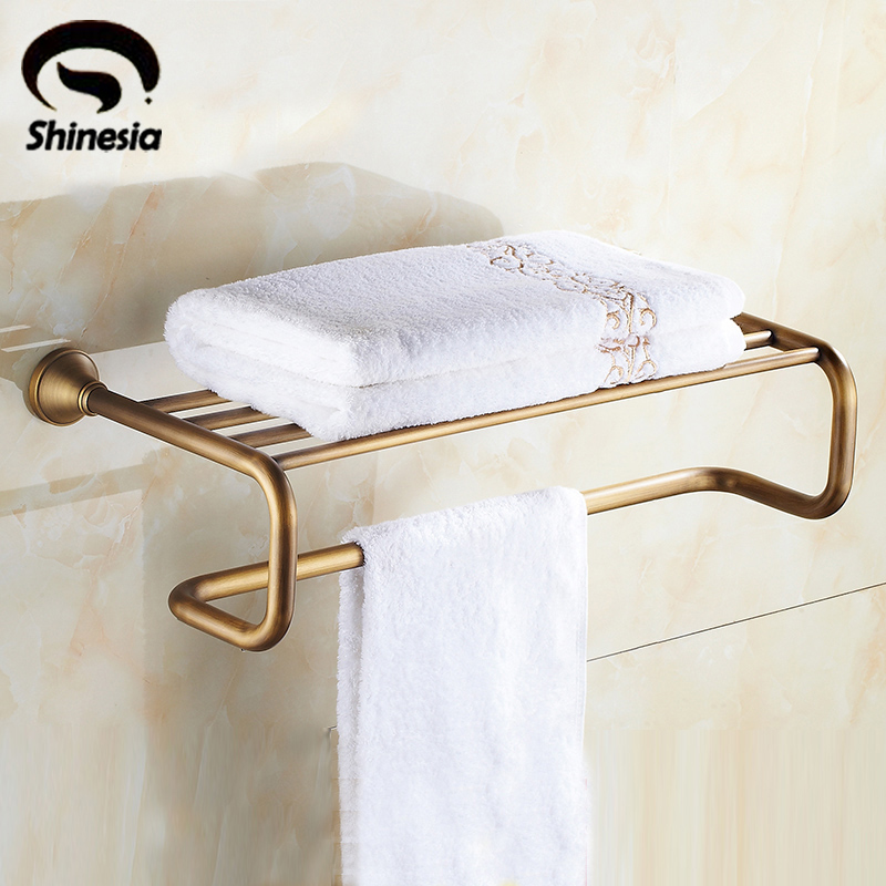 Classic Antique Brass Bathroom Towel Rack Towel Bar Towel Shelf Bathroom Accessories Wall Mount bracket wall towel rack towel rack solid wood bathroom toilet wall shelf rack antique industrial iron shelf