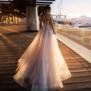 Image 2 - Женское свадебное платье в стиле бохо Its yiiya, белое кружевное платье с круглым вырезом и аппликацией на лето 2019