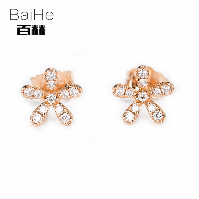 BAIHE Solid 14K Rose Gold 0.16CT H/SI Round cut 100% Genuine Natural Diamonds Wedding Trendy Fine Jewelry Elegant Stud Earrings владимир сапрыкин ты не поверишь… прозаические миниатюры
