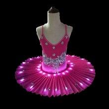 Light Led Ballet Dance Performance Tutu Dress Adult Female Pancake Jumpsuit Wear Swan Lake Fluorescent Pompon Suit H631