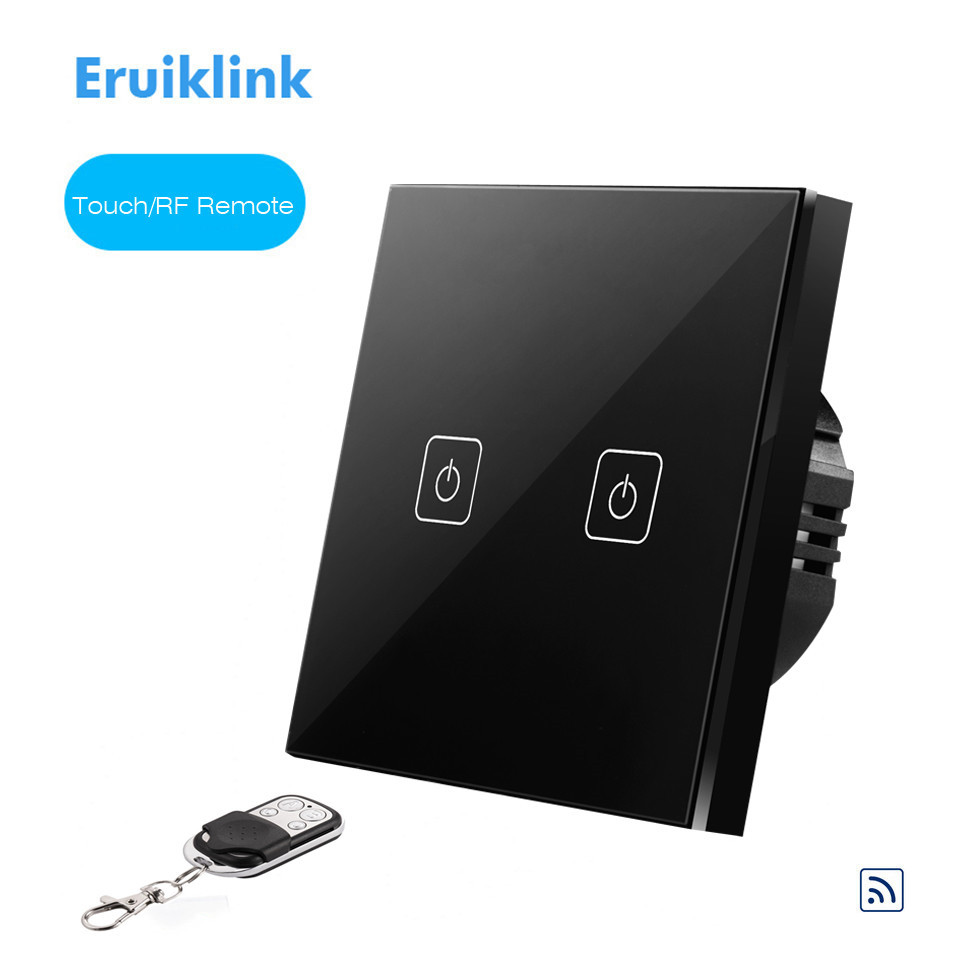 EU/UK Type Eruiklink RF Remote Control Switch 2 Gang 1 Way,Crystal Glass Switch Panel,Remote Wall Touch Switch,Remote Controller smart home us black 1 gang touch switch screen wireless remote control wall light touch switch control with crystal glass panel