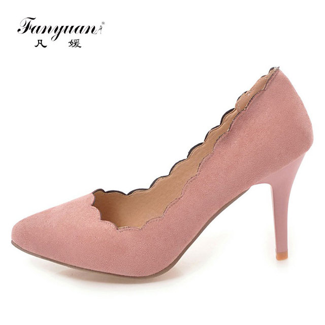 c61adcc14055d Fanyuan 2018 New Fashion lady dress shoe Pencil Heels Sweet Ladies High  Pumps Ruffles Stylish Stilettos Plus Size 34-43