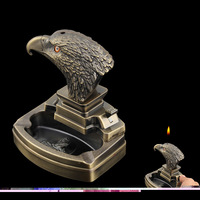 Creative Personality Eagle Head Shape Metal Ashtray Lighter Tobacco Tray Holiday Gifts Christmas Gifts Craft Gifts Decorations