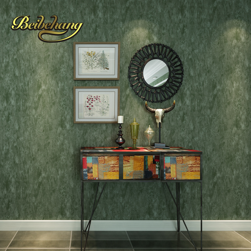 beibehang American Village Retro Green Thicker Solid Nonwovens Wall paper Living Room TV Wall Wallpaper 3d papel de parede beibehang papel de parede 3d drag wallpaper for walls decor embossed 3d wall paper roll bedroom living room sofa tv background