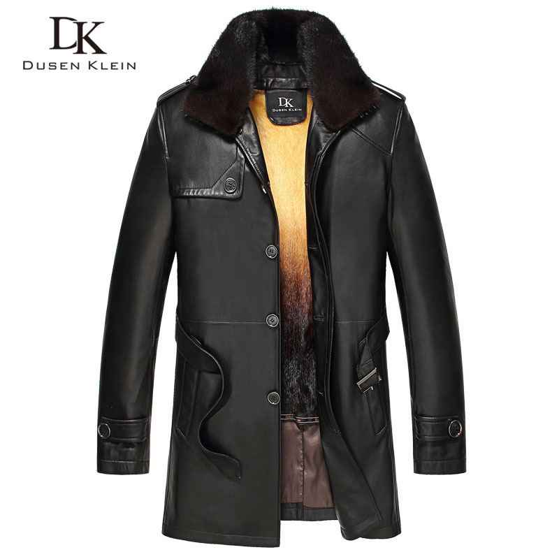 Luxury Winter Leather jacket Long Genuine sheepskin Gold Mink fur liner and fur colllar leather coats Dusen Klein 61H16865