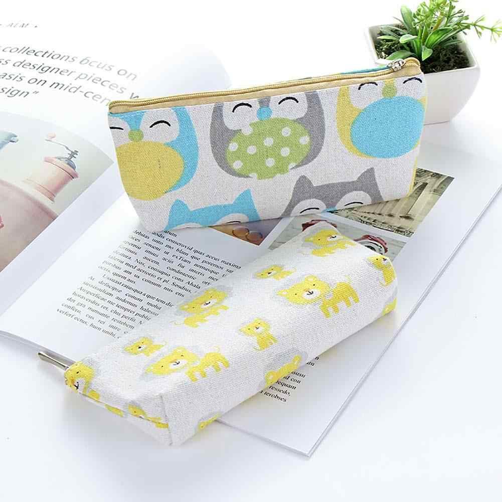 Cartoon Cute Tangerine Elephant Lion Owl Animal Pencil Case Box Stationery  Pouch Bag School Student Gift