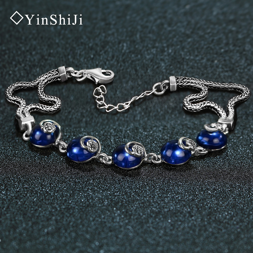YinShiJi Retro 100% 925 Sterling Silver Bracelets For Women Vintage Silver Jewelry Female vintage retro 100