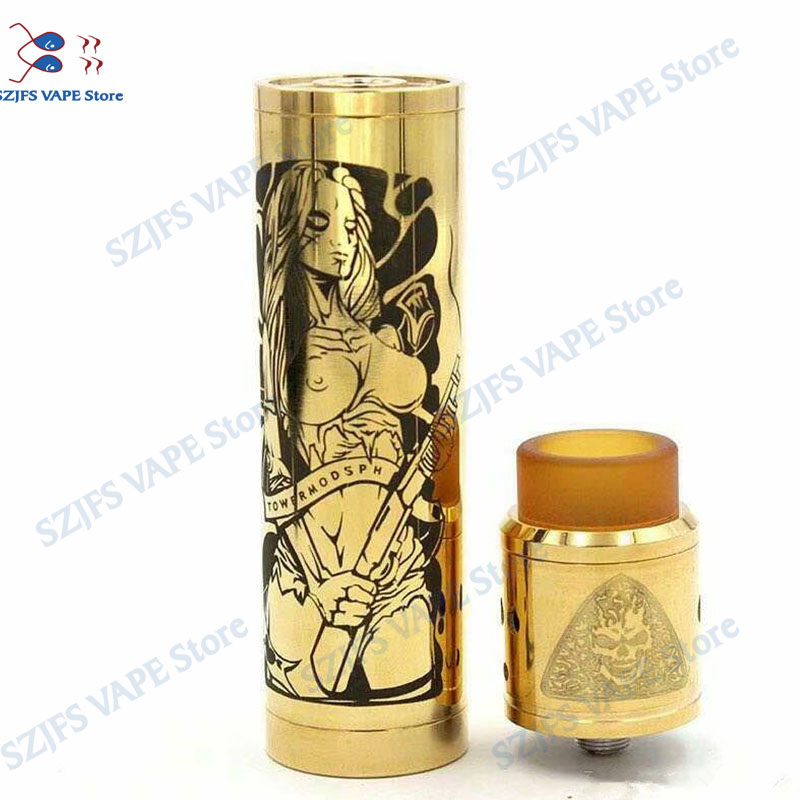 Brass Tower Mech Mod Kit 18650 Battery With RDA Tank Compatible Vape Vaporizer Vape Rta Rtda Atomizer  VS Sob Mechanical Mod Kit