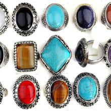 Wholesale 10Pcs/lot Vintage Large Stone Finger Ring Unisex Alloy Multi Shapes Round/Square/Oval Rings jewelry